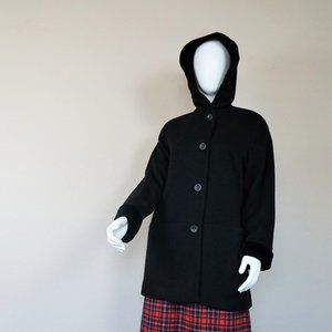 Albert Nipon Black Wool Coat with Velvet Hood